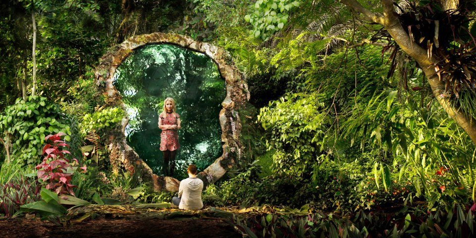 Amber (Kate Miller-Heidke) and Simon Vines (Jonathan McGovern), captive in the sunken garden.